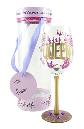 "Top Shelf ""Birthday Queen"" Decorative Wine Glass ; Funny Gifts for Women ; Hand Painted Purple and Gold Design ; Unique Red or White Wine Glasses"
