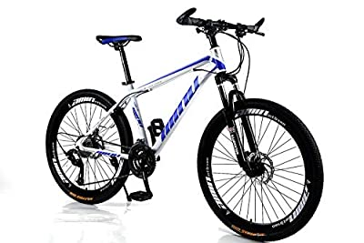 HIRUNS Full Mountain Bike,Mens and Womens Professional 21 Speed Gears 26in Bicycle, Twist Shift, Black