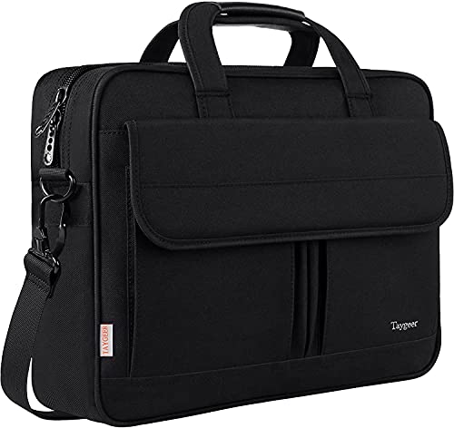 Taygeer Laptop Bag 17 inch, Large Business Water Resistant Briefcase for Man Women Protective Office Bag with Shoulder Strap Work Computer Bag for Laptop Notebook Travel School, Black