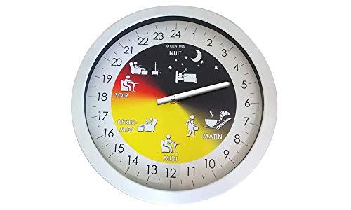 Horloge alzheimer - Pendule murale - Aide à la mobilité - Senior - Horloge 24 heures - Visualisation précise des différents moments de la journée