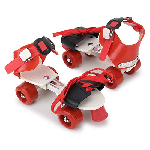 CADDLE & TOES Basics Adjustable Roller Skates 4 Wheel Skating Shoes for Kids Age Group 5-12 Years (Multi Color) (red)