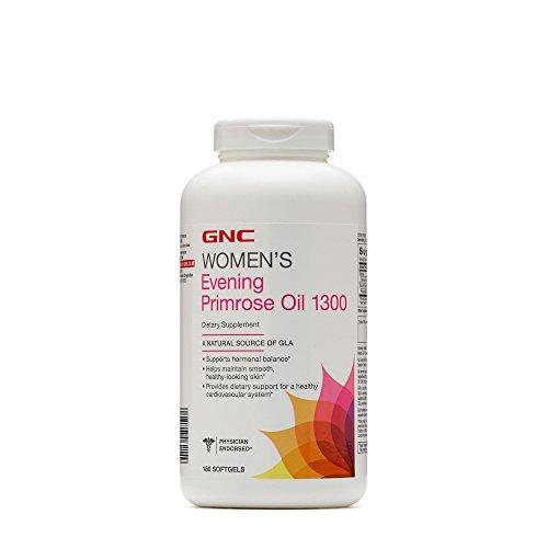 GNC Womens Evening Primrose Oil 1300, Support Hormone Balance, Healthy Skin Heart - 180 Count Softgels