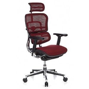 hjh OFFICE 652170 Ergohuman – Silla de oficina en malla burdeos