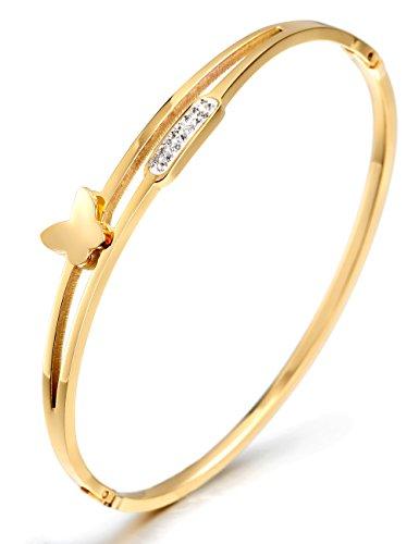 WISTIC Damen Armband Armreif Armkette Vergoldet aus Kristallen und Edelstahl Gold Rosegold Silber Ideal Geburtstag Hochzeit Geschenk für Frauen Mutter Mädchen (Gold5)
