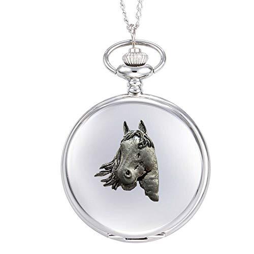 Reloj de bolsillo de cuarzo A1 con diseño de cabeza de caballo en una caja de plata pulida para hombre