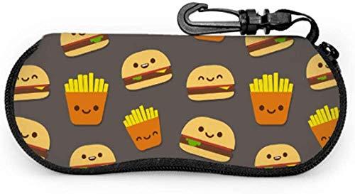 Hamburger Cartoon Cute Decor Reise Brillenetui Fall für Brillen Licht tragbare Neopren Reißverschluss Soft Case Customized Brillenetui