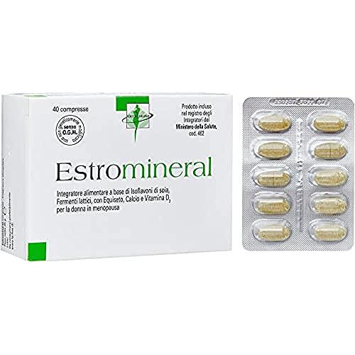 Estromineral Integratore Menopausa con Isoflavoni di Soia e Fermenti Lattici Probiotici, con Estratto Vegetale di Equiseto, Calcio e Vitamina D3, 40 Compresse