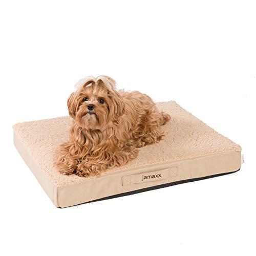 JAMAXX Orthopädische Hunde-Matratze Gelenkschonend Memory Visco Schaum Waschbar Abnehmbarer Lammfell Bezug/Wasserabweisendes Oxford Gewebe - Robustes Kuschliges Hundebett PDB1012, 65x50 (S), beige