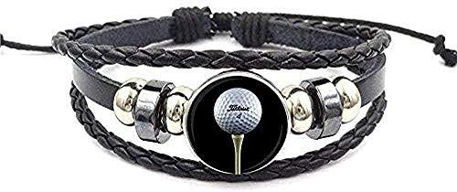 YOUZYHG co.,ltd Collar Glaseado Pulsera de Cuero Negro Brazalete Cabujón de Cristal Joyería Vintage para Hombres Mujeres Regalo Jugador de Golf