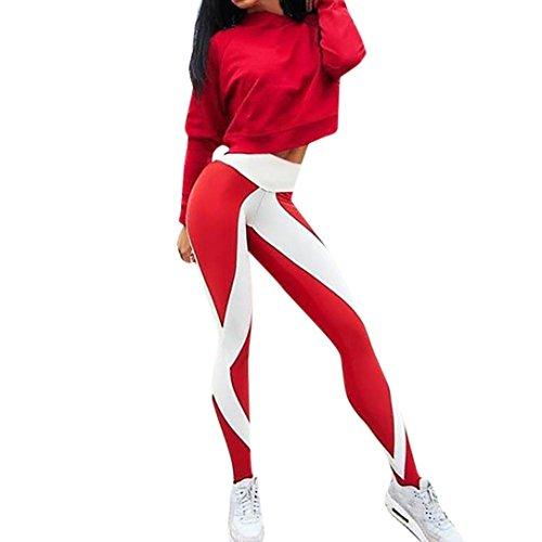 DEELIN Leggings Damen Gestreifte Trainings Gamaschen Fitness Sport Gymnastik laufende Yoga athletische Hosen (S, Rot)