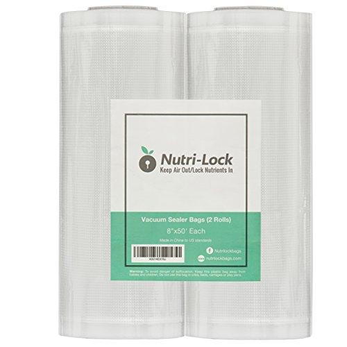 "Nutri-Lock Vacuum Sealer Bags. 2-Pack 8""x50' Commercial Grade Food Saver Bags Rolls. Nutri-lock Bags Work with Foodsaver. Perfect for Sous Vide."