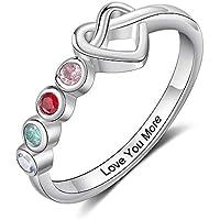 kaululu Personalized 2/3/4 Birthstone Rings