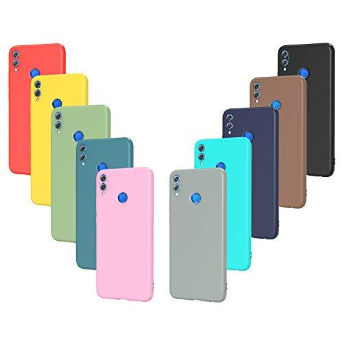 ivoler 10 x Funda para Huawei Honor 8X, Ultra Fina Carcasa Silicona TPU Protector Flexible Funda (Negro, Gris, Azul Oscuro, Azul Cielo, Azul, Verde, Rosa, Rojo, Amarillo, Marrón)