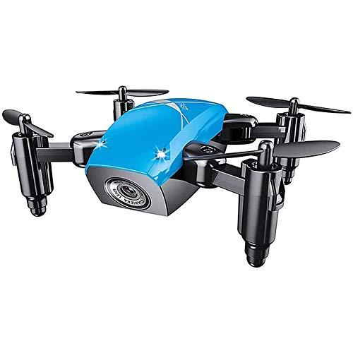 GRTVF Mini Drone, WiFi FPV RC Quadcopter con Fotocamera HD, Drone Pieghevole con Attesa di altitudine, modalità Senza Testa, Drone Tascabile Selfie per Bambini e principiante (Color : Blu)