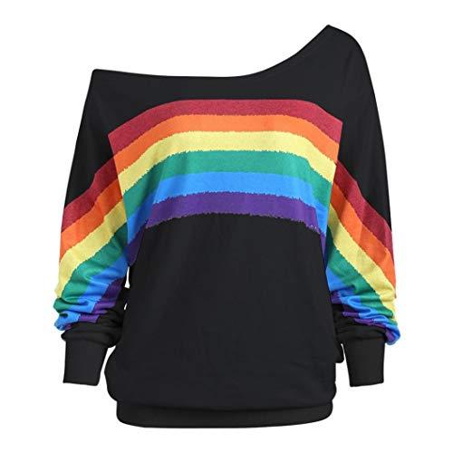 Damen Lose Rainbow Off Shoulder Pullover TWIFER Bluse Sweatshirt Langarm Shirts