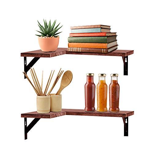 Halter Floating Corner Shelves Wall Mounted Storage for Home and Office Decor, Set of 2, Vintage Wood