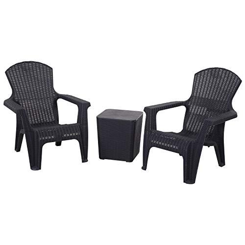 Outsunny Dreiteiliges Gartenmöbel Set, Sitzgruppe, 2 Stühle, Kaffeetisch mit Stauraum, PP, Schwarz