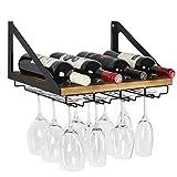 JACKCUBE - Estante de madera rústica para vino con 4 soportes de alambre de metal para decoración del hogar y la cocina