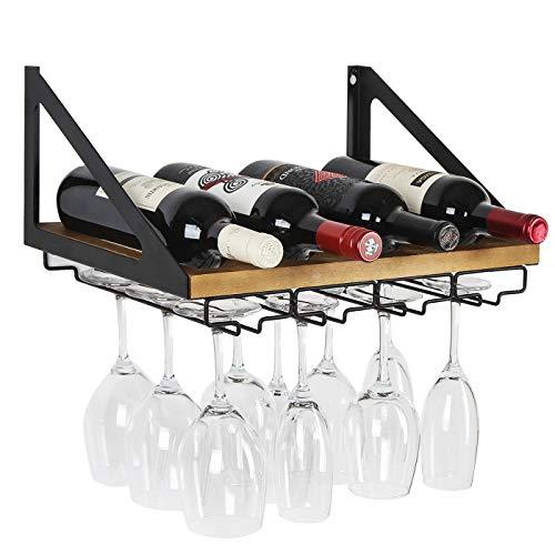 JACKCUBE MK478A Estante para botellas de vino montado en la pared de madera rústica con soporte de vidrio de 4 cables para decoración del hogar y la cocina