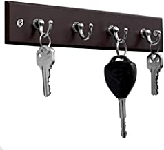 Home Basics 4 Hook Wall Mounted Key Holder Rack for Entryway, Kitchen, Bedroom – Organize Car Keys, House Keys, Small Accessories and Jewelry (Cherry)