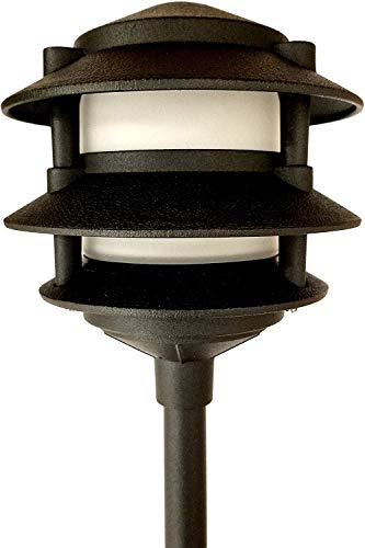 Low Voltage Landscape 3 Tier Pagoda Light in Black Finish