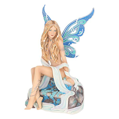 Nemesis Now - Jewelled Fairy Sapphire - Figura Decorativa con Forma de Hada, Resina, Color Azul, 19 cm, Talla única