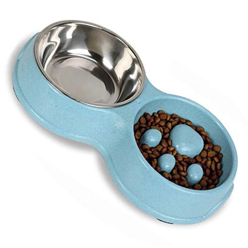 RGG Comedero antivoracidad para Gatos. Comedero Lento y Bebedero de Acero Inoxidable