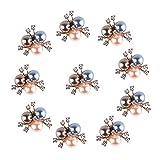 10 unids/Set Flor Flower Rhinestones Botón de Perlas Decoración de la Boda Aleación Cristal Arco Costura Botones Ropa Accesorios para el Cabello