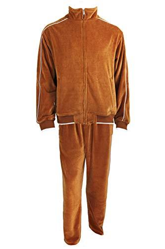Sweatsedo Mens Velour Tracksuit (Burnt Orange, Large)