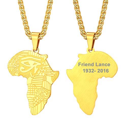 PROSTEEL personalisiert Amulett Kette Herren 18k vergoldet Anhänger Halskette Africa Karte mit Horusauge Muster 60cm verstellbar Weizenkette Namen Texte Gravur Jungen