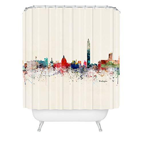 "Society6 Bri Buckley Washington DC Skyline Shower Curtain, 72""x69"", Multi"