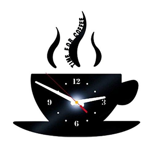 Zarupeng DIY Kaffee Lautlos Wanduhr, Removable Acryl 3D Spiegel Wandaufkleber Dekorative Digitale Uhr im Vintage-Design ohne Tickgeräusche (15 * 30cm, Schwarz)