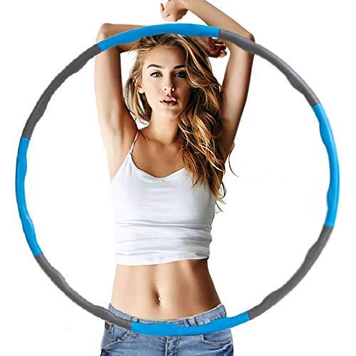 RJINS Aros de ejercicio con peso de 8 secciones, ejercicios desmontables, portátiles, de tamaño suave, ajustable, para adultos, para perder peso