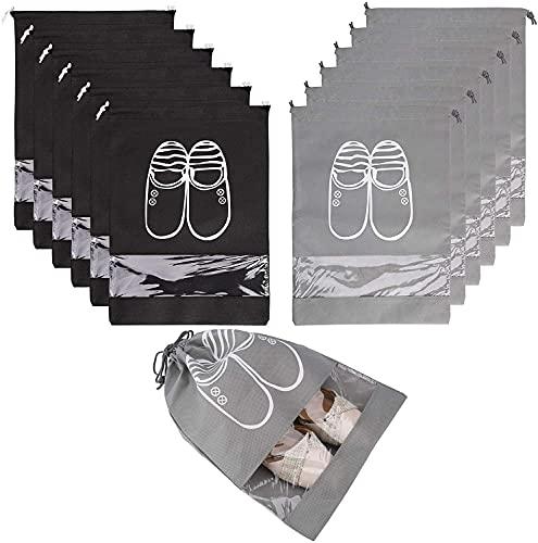 12 Piezas Bolsas De Zapatos Impermeable, Bolsa De Viaje para Zapatos Grande con Cordón De Ventana Transparente, Zapatos De Viaje Bolsa De Acabado, para Botas Tacón Alto Sandalias