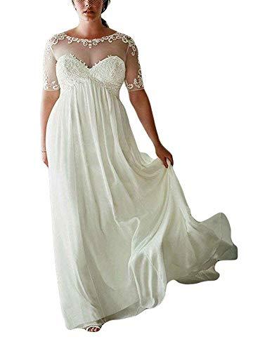 DreHouse Women's Chiffon Vintage Beach Wedding Dresses with Half Sleeves Plus Size