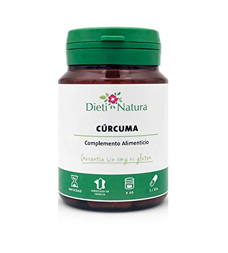 Cúrcuma 60 cápsulas de Dieti Natura. Ayuda contra el malestar articular [Fabricado en Francia][Garantía Sin OGM ni Gluten] (Bote de 60 cápsulas)