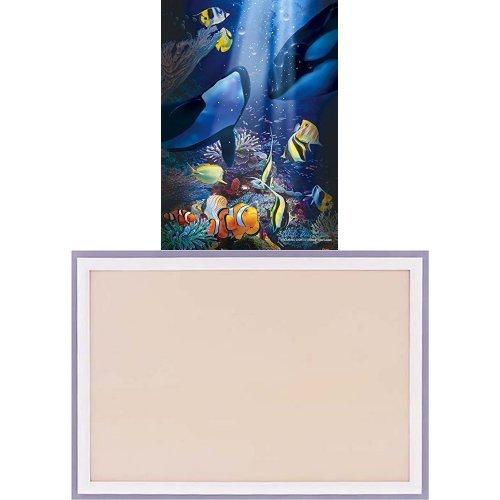 108ピース 光るジグソーパズル ラッセン エンデュアリング ライト(18.2x25.7cm) フレームセット+木製パズルフレーム ウッディーパネルエクセレント シャインホワイト (18.2x25.7cm)