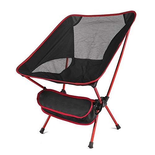 Voyage Ultra Light Chaise Pliante, Super Dur extérieur Chaise Haute Charge Chaise de Camping Portable Pique-Nique Pliante Chaise de pêche (Color : Red)