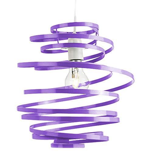Hedendaagse paarse glanzende metalen dubbele lint spiraal werveling plafond licht hanger