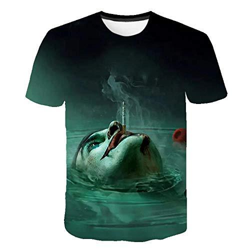 hengGuKeJiYo Camiseta Hombre Payaso Harajuku Camiseta Mujer, Joker 3D Impreso Terror Moda Camisetas Xxs-6Xl