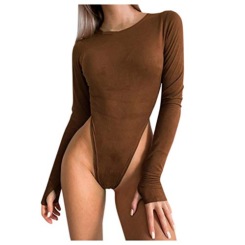 Dicomi Women Pure Color Jumpsuit Sexy Tight Fitting Long Sleeves Crewneck Party Bodysuits Coffee