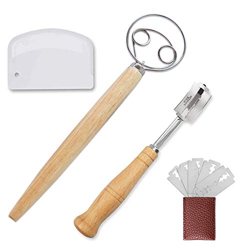 Danish Dough Whisk and Bread Lame Stainless Steel Tool Set with 5 Replaceable Blades and 1 Dough Cutter for Bread, Pastry or Pizza Dough - Perfect Baking Tool Alternative to a Blender, Mixer or Hook