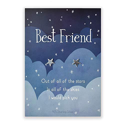 Sterling silver star stud earrings for Best Friend | sentimental...