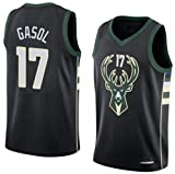 Camiseta PAU Gasol Milwaukee Bucks Negra,Camiseta Deportiva, Chaleco Transpirable de Secado rápido,Statement edición