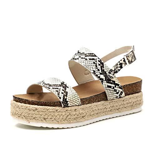 Sandalen Damen Plateau Espadrille Sommer Keilabsatz Leder 5 cm Absatz Sandaletten Peep Toe Flach Sommerschuhe Bequeme Schlange 40