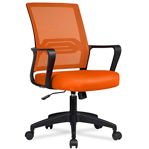 COMHOMA Office Chair Desk Ergonomic Chair with Arms Back Support Mesh Chair for Home Office (ORANGE)