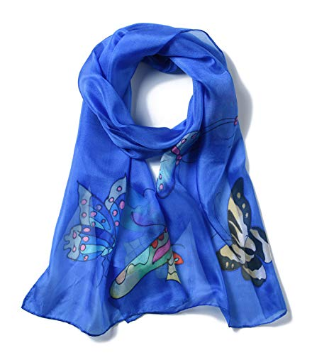 Invisible World Damen Seidentuch handbemalt Schmetterlinge – langes Halstuch Kopftuch und Haartuch – Himmel-Blau