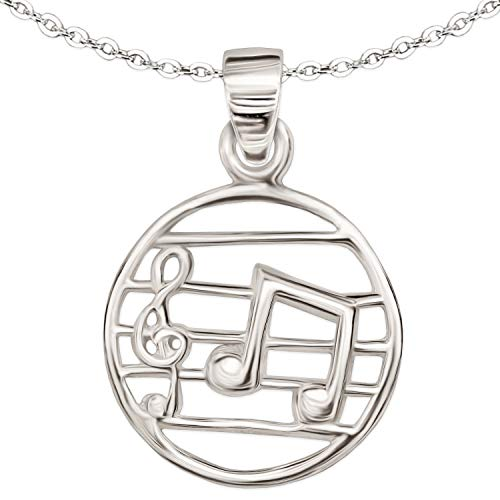 Clever Schmuck Set Silberner kleiner Musik Anhänger runde Form 15 mm Ø mit Notenschlüssel, Musiknote auf Notenblatt glänzend und Kette Anker 40 cm STERLING SILBER 925 für Kinder