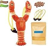 Juego de Animales de Madera, Aspecto Y Tallado A Mano, Niños al Aire Libre, Equipado con Banda de Goma de Reemplazo y Pelotas Suaves (Shrimp)