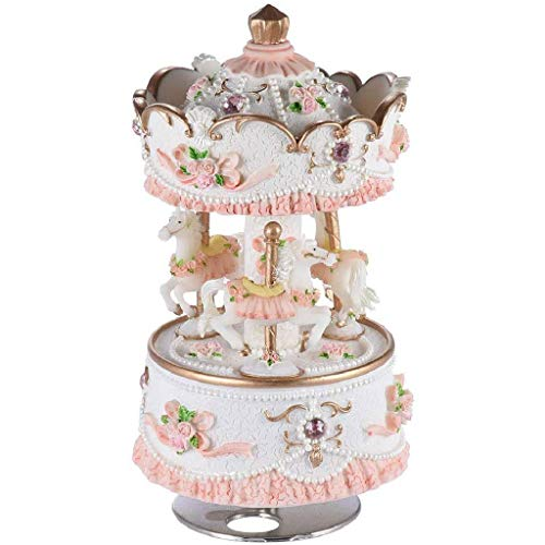 LKYBOA La Caja de música - Cuadro clásico Clockworek Musical Mejor Regalo de cumpleaños for los niños, niñas, los Amigos, el Castillo de la melodía en el Cielo (Rosa-Blanco)